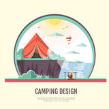 Flat style design of retro seaside landscape and camping Royalty Free Stock Photo