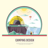 Flat style design of retro seaside landscape and camping Stock Photo