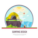 Flat style design of seaside landscape and camping. Stock Photo