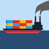 Flat style design of shipping containers on a ship Royalty Free Stock Photography
