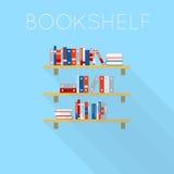 Flat-style design of three bookshelfs with books Stock Image