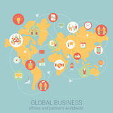 Flat style design vector illustration  infographics concept. Global business worldwide flat style design vector illustration world map people partnership link Royalty Free Stock Photos