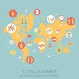 Flat style design vector illustration infographics concept. Global business worldwide flat style design vector illustration world map people partnership link Vector Illustration