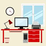 Flat style design vector illustration work place home interior Stock Image