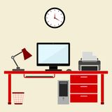 Flat style design vector illustration work place home interior Royalty Free Stock Image