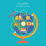 Flat style design vector worldwide global delivery concept Royalty Free Stock Image