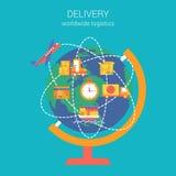 Flat style design vector worldwide global delivery concept. Flat style design vector illustration worldwide global delivery shipping logistics concept. Collage Vector Illustration