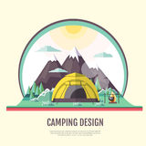 Flat style design of vintage Mountains landscape and camping Stock Photos