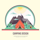 Flat style design of vintage Mountains landscape and camping Stock Images