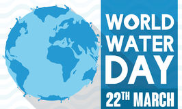 Flat Style Design with Watery Globe for World Water Day, Vector Illustration Stock Photo