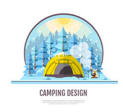 Flat style design of winter forest landscape and camping tent Stock Photography