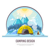 Flat style design of winter Mountains landscape and camping tent Royalty Free Stock Photos