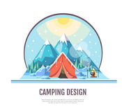 Flat style design of winter Mountains landscape and camping tent Royalty Free Stock Photography