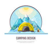 Flat style design of winter Mountains landscape and camping tent Royalty Free Stock Images