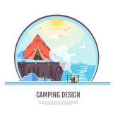 Flat style design of winter seaside landscape and camping tent Royalty Free Stock Images