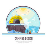 Flat style design of winter seaside landscape and camping tent Stock Photo