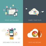 Flat Style Designs concepts for Cloud Services and File Management. Royalty Free Stock Images