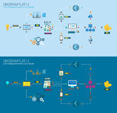 Flat Style Diagram, Infographic and UI Icons to use for your business project Royalty Free Stock Photo