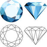 Flat style diamonds. Decorative abstract blue diamonds isolated on white. Flat style icon Stock Image