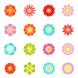 Flat style different flowers in garden. Summer vector icon set isolate on white background. Spring flower blossom, illustration of flower with color petals Stock Image