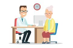 Flat doctor cares old woman health . Patient. Flat style doctor cares of old woman health  illustration. Female patient in hospital clinic. Medicine, healthcare Royalty Free Stock Photography
