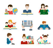 Flat Style Education People Icon Set Royalty Free Stock Photography