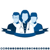 Flat style emblem with group of doctors. Emblem in a flat style with a picture of a group of doctors. Medical team of ambulance. Clinic staff isolated on white royalty free illustration