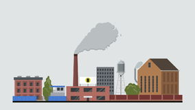 Flat style factory animation reveal. Eco atmosphere pollution chimney animated smoke concept