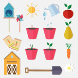 Flat style farm garden vector set Royalty Free Stock Images