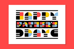Flat style Fathers day greeting card with retro lettering Stock Image