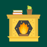 Flat style fireplace icon design house room warm christmas flame bright decoration coal furnace and comfortable warmth. Energy indoors vector illustration Stock Photography
