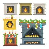 Flat style fireplace icon design house room warm christmas flame bright decoration coal furnace and comfortable warmth. Energy indoors vector illustration Royalty Free Stock Images