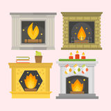 Flat style fireplace icon design house room warm christmas flame bright decoration coal furnace and comfortable warmth Royalty Free Stock Photography