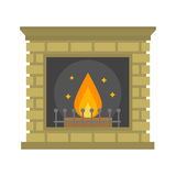 Flat style fireplace icon design house room warm christmas flame bright decoration coal furnace and comfortable warmth Royalty Free Stock Image