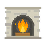 Flat style fireplace icon design house room warm christmas flame bright decoration coal furnace and comfortable warmth. Energy indoors vector illustration Royalty Free Stock Photos
