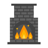 Flat style fireplace icon design house room warm christmas flame bright decoration coal furnace and comfortable warmth. Energy indoors vector illustration Royalty Free Stock Photo