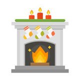 Flat style fireplace icon design house room warm christmas flame bright decoration coal furnace and comfortable warmth. Energy indoors vector illustration Stock Image