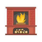 Flat style fireplace icon design house room warm christmas flame bright decoration coal furnace and comfortable warmth. Energy indoors vector illustration Stock Photo