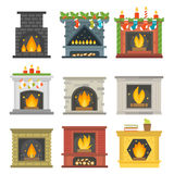 Flat style fireplace icon design house room warm christmas flame bright decoration coal furnace and comfortable warmth. Energy indoors vector illustration Stock Photos