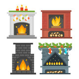 Flat style fireplace icon design house room warm christmas flame bright decoration coal furnace and comfortable warmth Stock Images