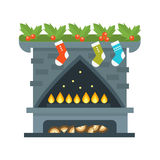 Flat style fireplace icon design house room warm christmas flame bright decoration coal furnace and comfortable warmth. Energy indoors vector illustration Stock Images
