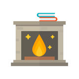 Flat style fireplace icon design house room warm christmas flame bright decoration coal furnace and comfortable warmth Royalty Free Stock Images