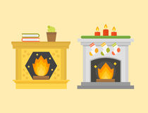 Flat style fireplace icon design house room warm christmas flame bright decoration coal furnace and comfortable warmth Royalty Free Stock Photo