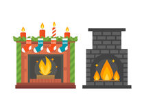 Flat style fireplace icon design house room warm christmas flame bright decoration coal furnace and comfortable warmth Stock Image