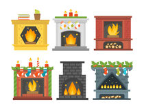 Flat style fireplace icon design house room warm christmas flame bright decoration coal furnace and comfortable warmth. Energy indoors vector illustration Royalty Free Stock Photography