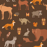 Flat style forest animals seamless pattern Stock Image