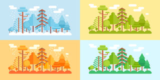 Flat Style Forest Scenery, four stylized seasons Royalty Free Stock Images