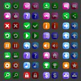 Flat style game icons buttons icons, interface Stock Photo