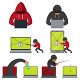 Flat style hackers using laptop, stealing money. Hacker using laptop, stealing credit card information, money, fishing, breaking PIN code, flat style vector royalty free illustration
