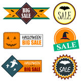 Flat style Halloween sale stickers Royalty Free Stock Photos